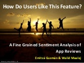 How Do Users Like This Feature? A Fine Grained Sentiment Analysis of App Reviews (RE2014 Paper)