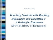 Reading difficulties & disabilities...