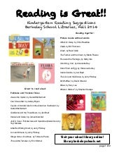 Kindergarten reading suggestions -- Fall 2014