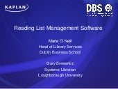 The reading list challenge : implementing Loughborough Online Reading List Software (LORLS)