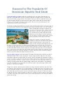 Reasons For The Popularity Of Dominican Republic Real Estate