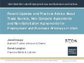 Recent Updates and Practical Advice About Trade Secrets, Non-Compete Agreements and Non-Solicitation Agreements for Employment and Business Attorneys in Utah