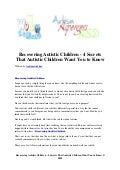Recovering autistic children   4 secrets that autistic children want you to know