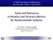ACM RecSys 2011 - Rank and Relevanc...