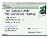 CPL Workshop-Fall 14: Plain Language Starts with Planning and Personas (Ginny Redish)
