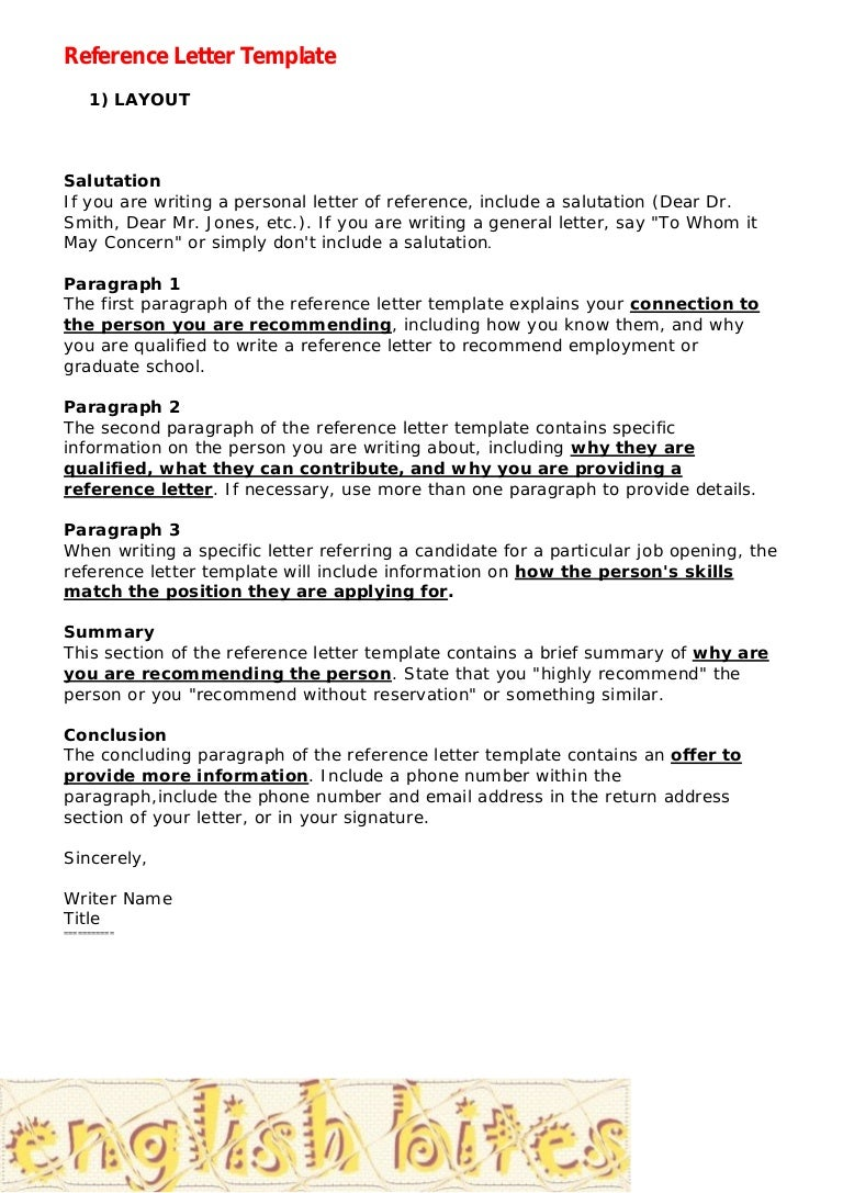 100 Recommendation Letter Coop – Character Reference Template Uk