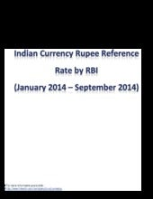 Indian Currency Rupee Reference Rate from January to August 2014