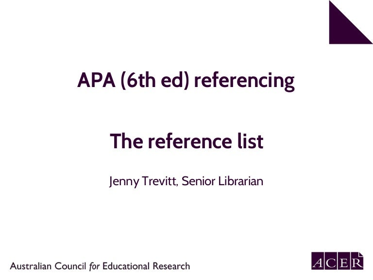 Apa 6th reference list