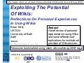 Reflections On Personal Experiences In Using Wikis