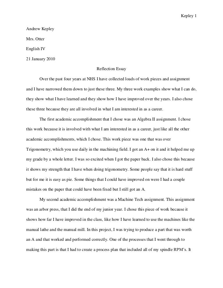 Reflective Essay Examples English Class  English Class Reflection  Reflective Essay On English Class  Page Essay Example