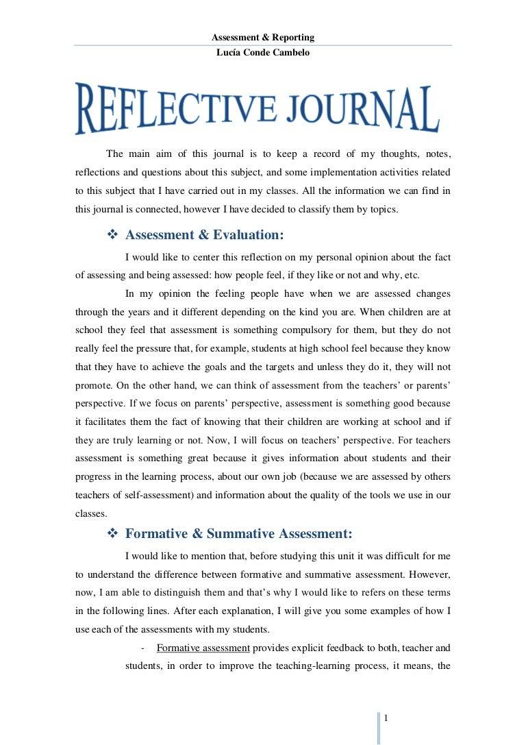 reflective journal unit 1