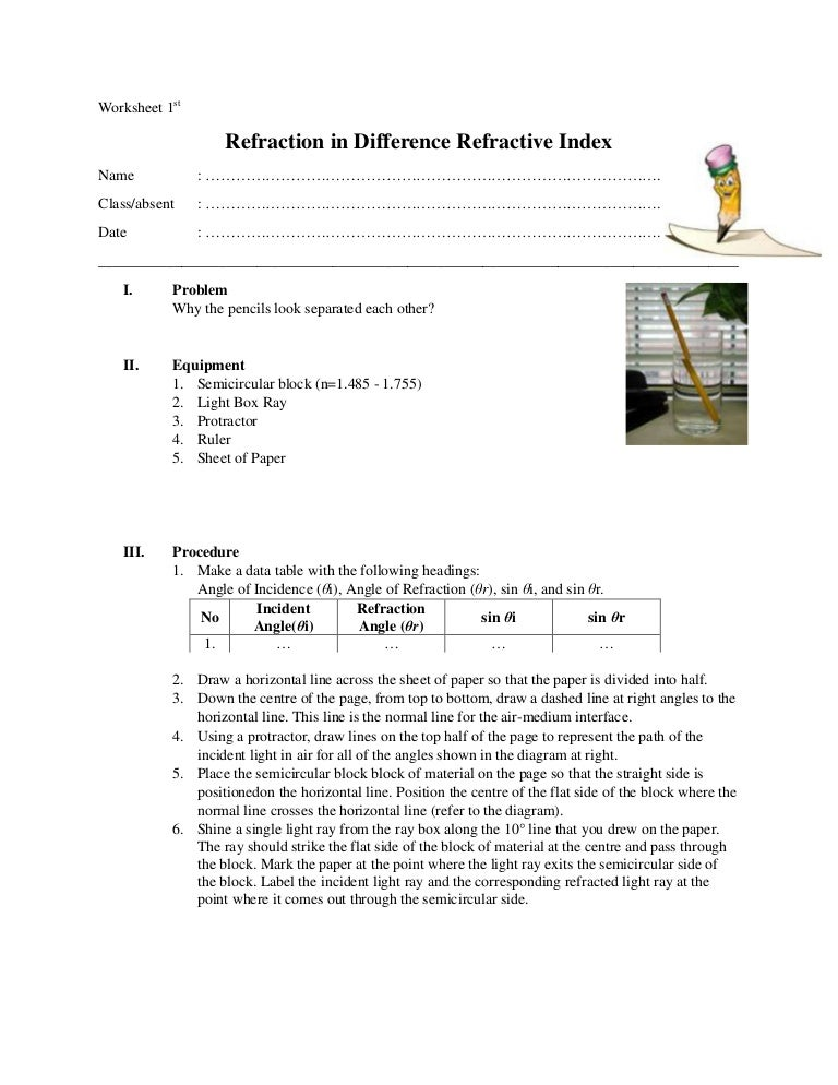 Worksheets Refraction Worksheet worksheet refraction in difference medium