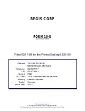 Q1 2009 Earning Report of Regis Cor...