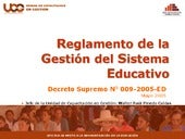 Reglamento del sistema educativo ds...