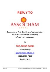 REPLY TO - Comments on Prof Girish ...