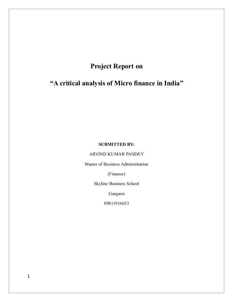 Dissertation report on microfinance