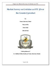 Report On Market Survey Of Cetrizin...