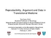Reproducibility, argument and data in translational medicine