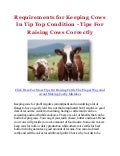 Requirements for Keeping Cows In Tip Top Condition - Tips For Raising Cows Correctly