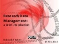 Research data management: a brief introduction