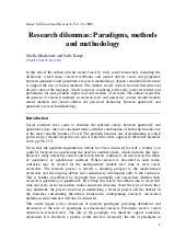 Research Dilemmas Paradigms, Method...