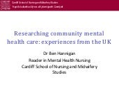 Researching community mental health...