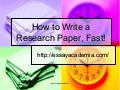 How to Write a Research Paper, Fast!