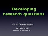 Research questions in PhD