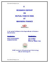 Research report on mutual fund in i...