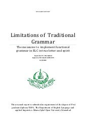 Research report traditional grammar...