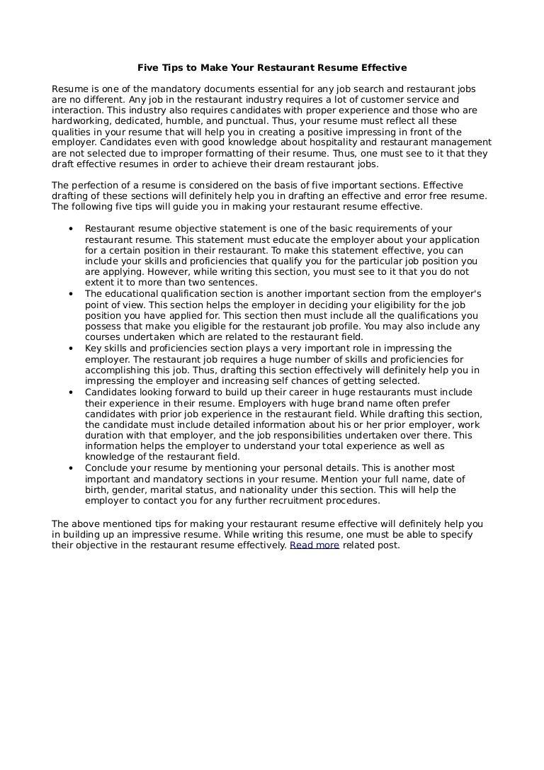 Doc8001035 Objective for Resume for Restaurant Good objective – Handy Man Resume