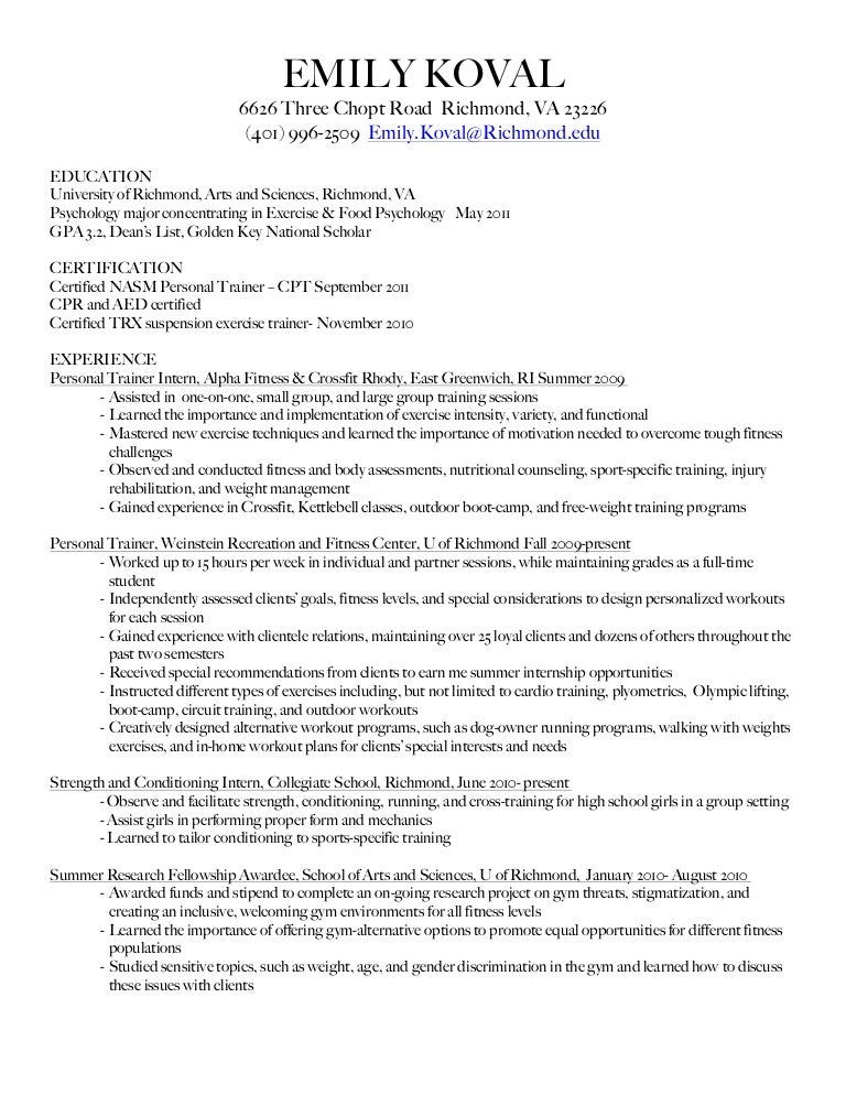 Personal Trainer Resume Sample - sarahepps.com -