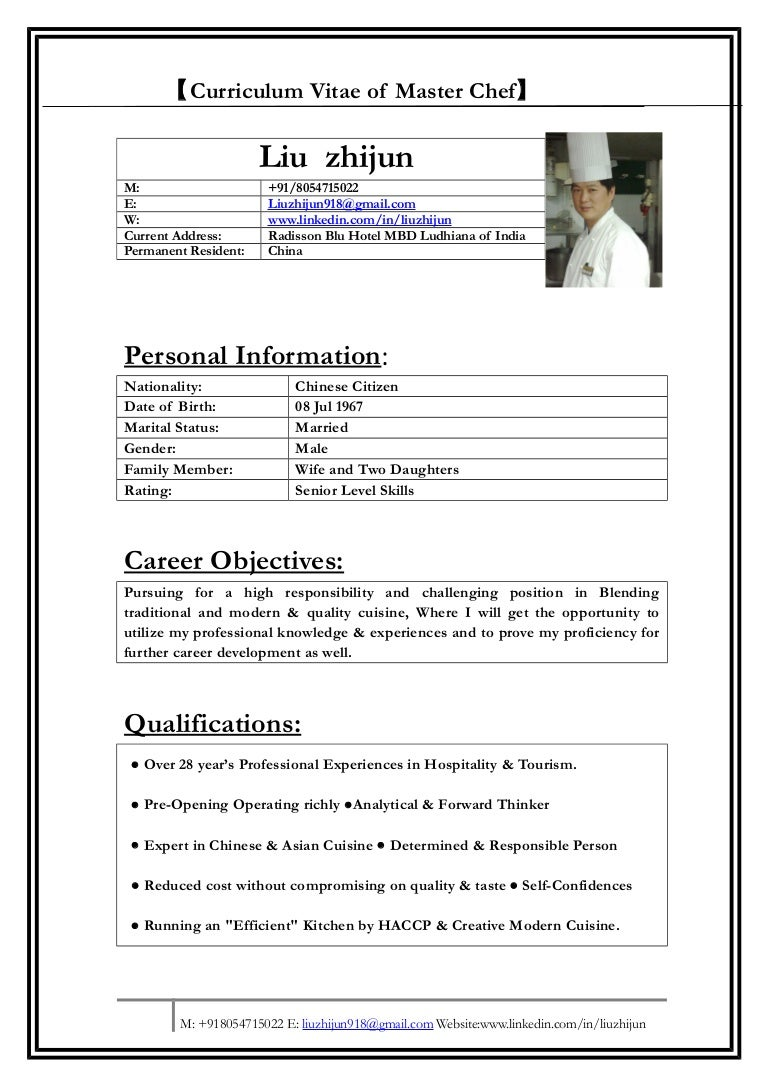 resume of a chef resume cv cover letter