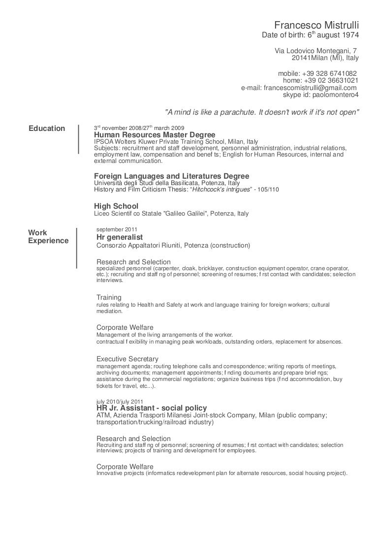 Rtch operator resume
