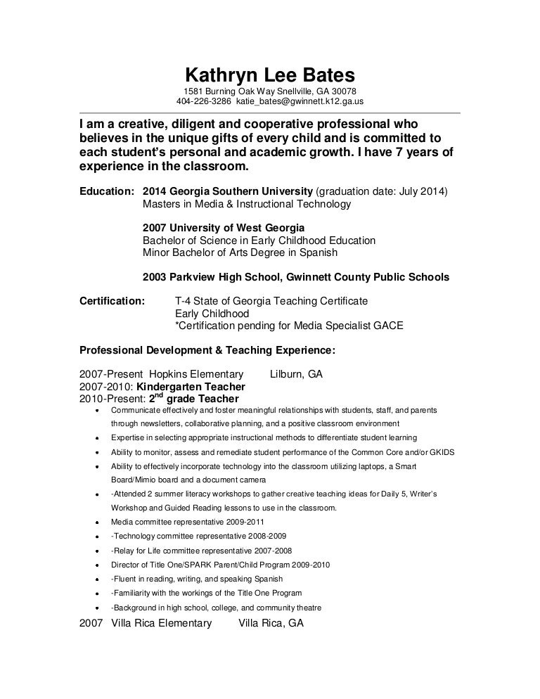 2nd grade teacher resume