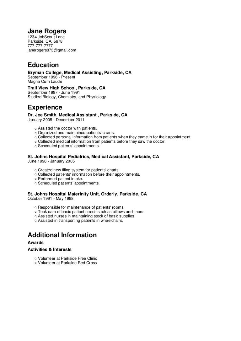 sample resume for medical assistant with no experience radiotodorock.tk