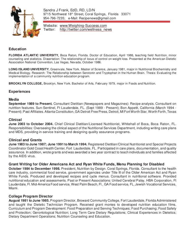 nutritionist resume sample