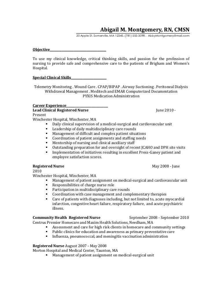 Example Of Rn Resume. Resident Doctor Resume Sample Ambulatory ...