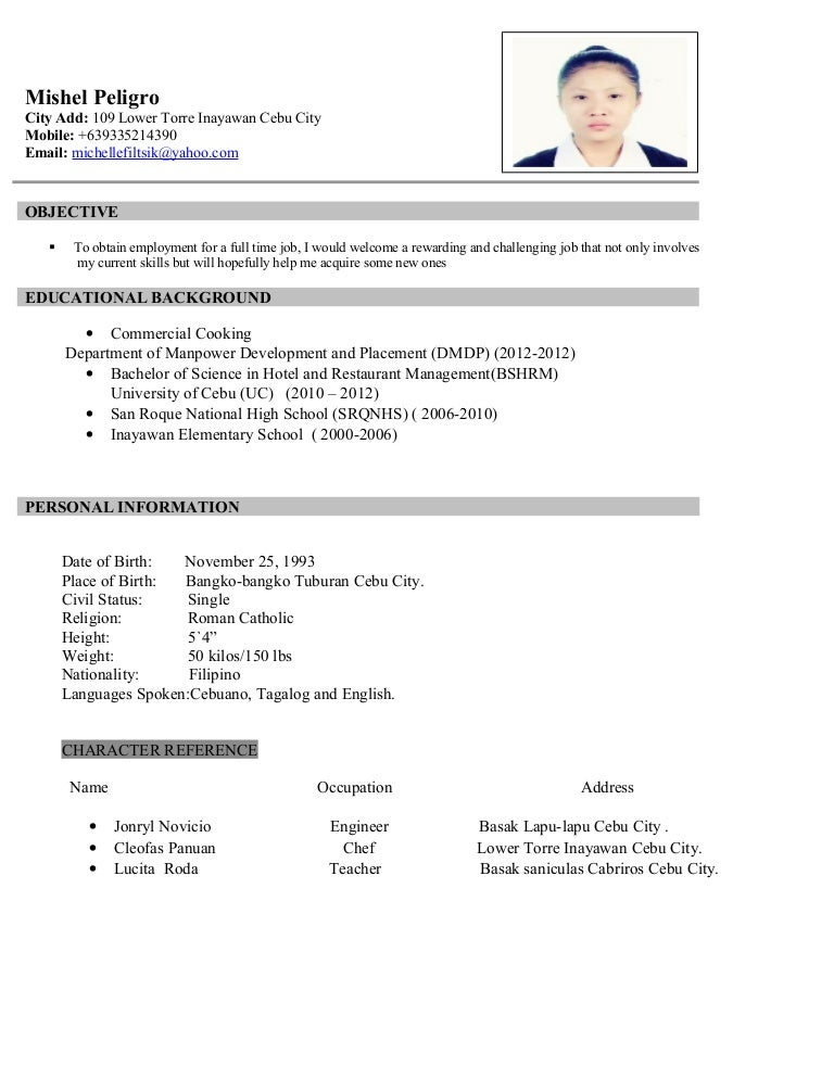 Example Of Resume Of Hotel Restaurant Management Student - frizzigame