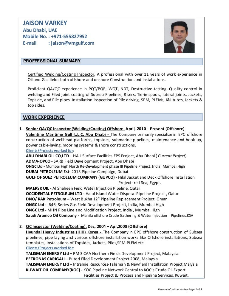 resume of jaison varkey  qa qc inspector welding coating offshore oi…