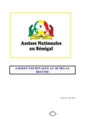 RESUME ASSISES NATIONALES AU SENEGAL