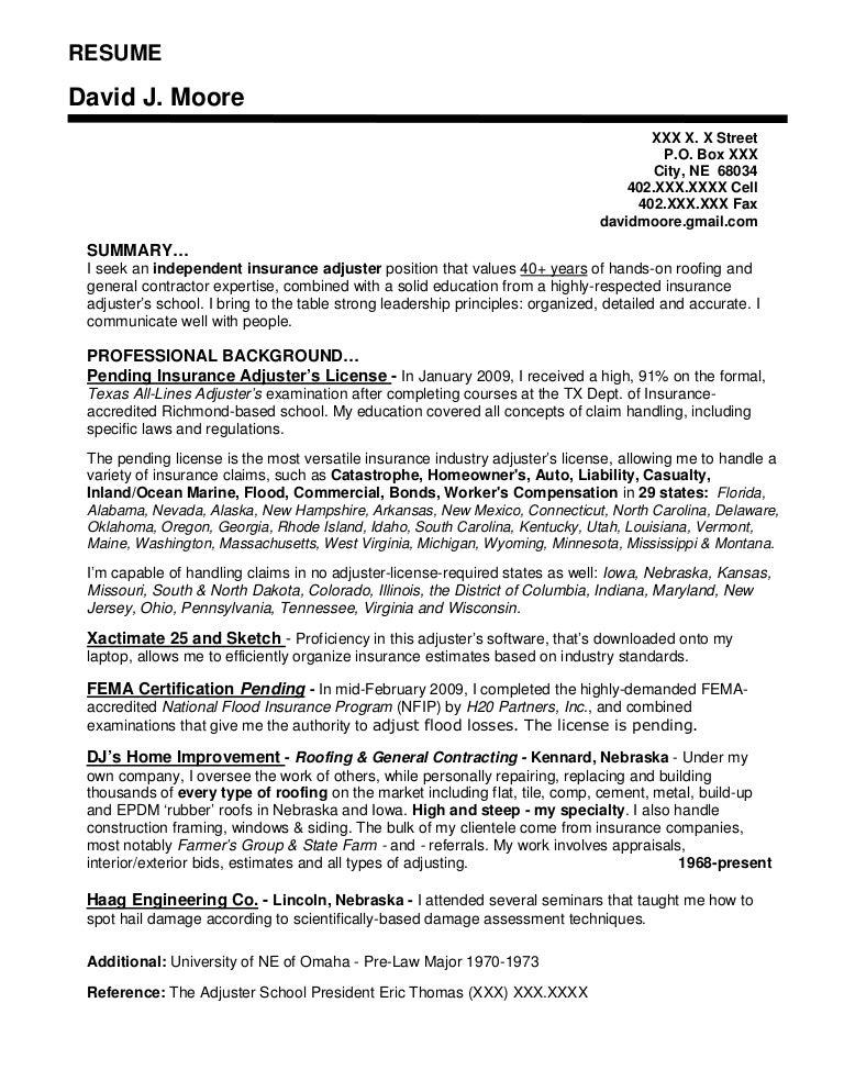 Independent insurance adjuster sample resume
