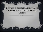 Retail organization and classificat...