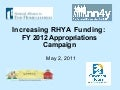 Increasing RHYA Funding: FY 2012 Appropriations Campaign