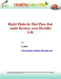 Right diabetic diet plan that could restore your healthy life 1