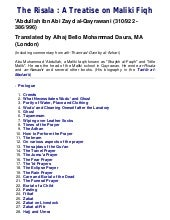 Risala - Treatise On Maliki Fiqh