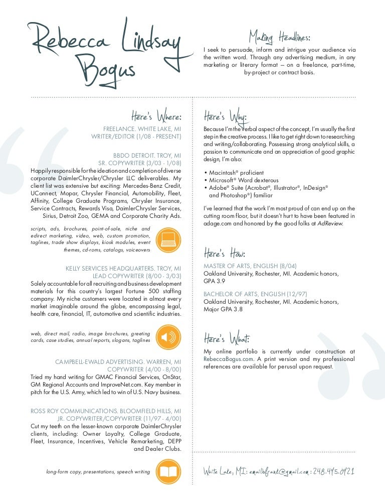 Resume, Copywriter/Editor