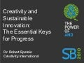 Creativity and Sustainable Innovation: The Essential Keys for Progress - Dr. Robert Epstein