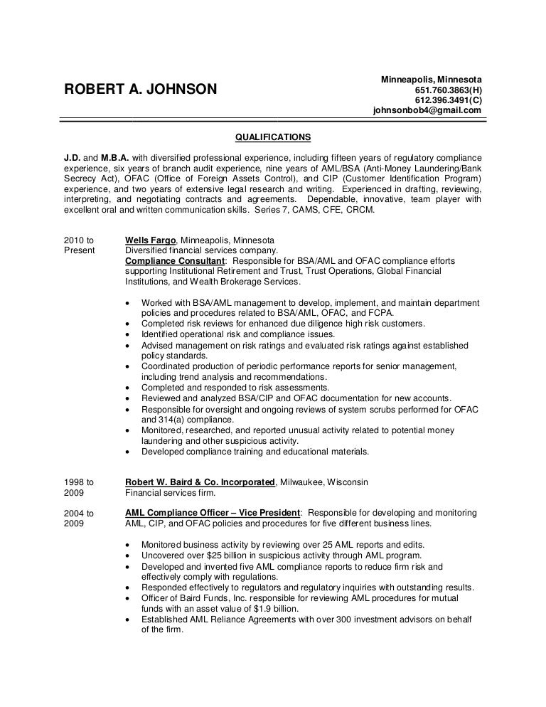 Chief Compliance Officer Resume Sample Cco Resumes S14a Resume