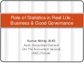 Role of statistics in real life , b...